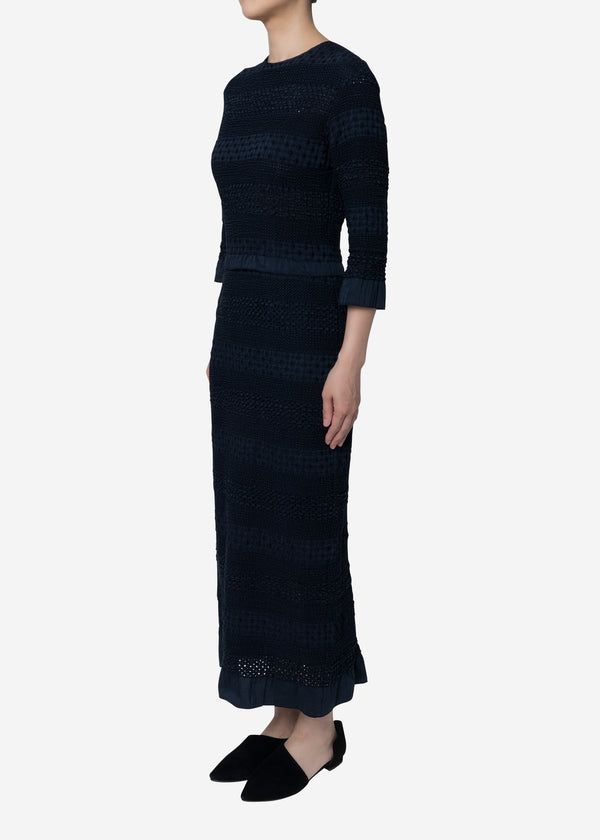 Shirring Embroidery Dress in Navy