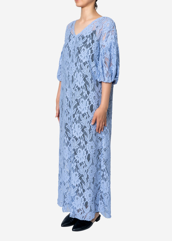 Floral Stretch Lace Dress in Blue