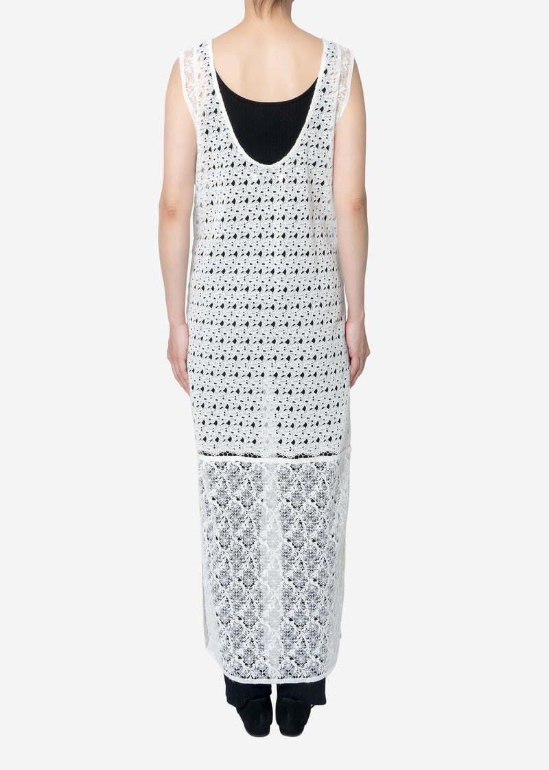 Floral Geometric Chemical Lace Dress in White