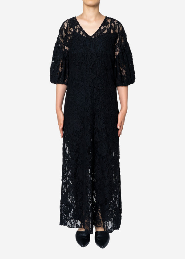 Floral Stretch Lace Dress in Black