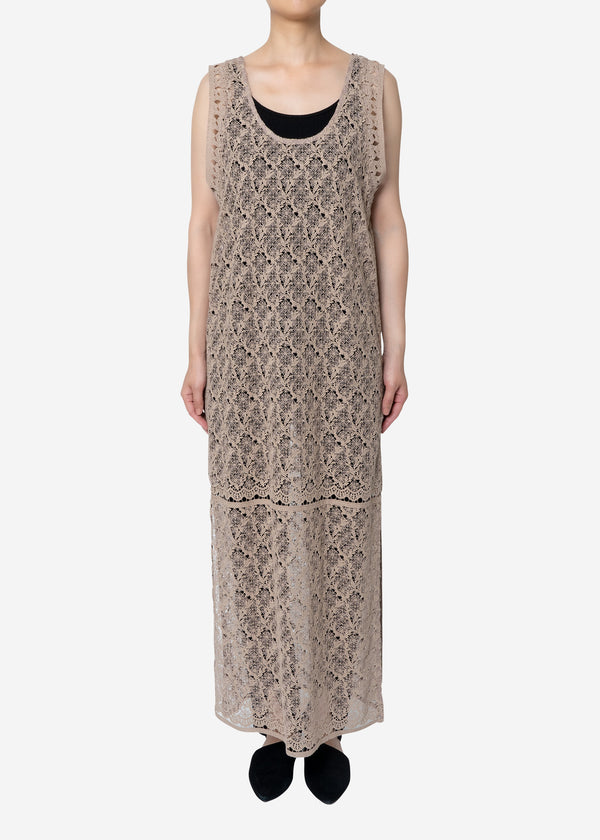 Floral Geometric Chemical Lace Dress in Beige
