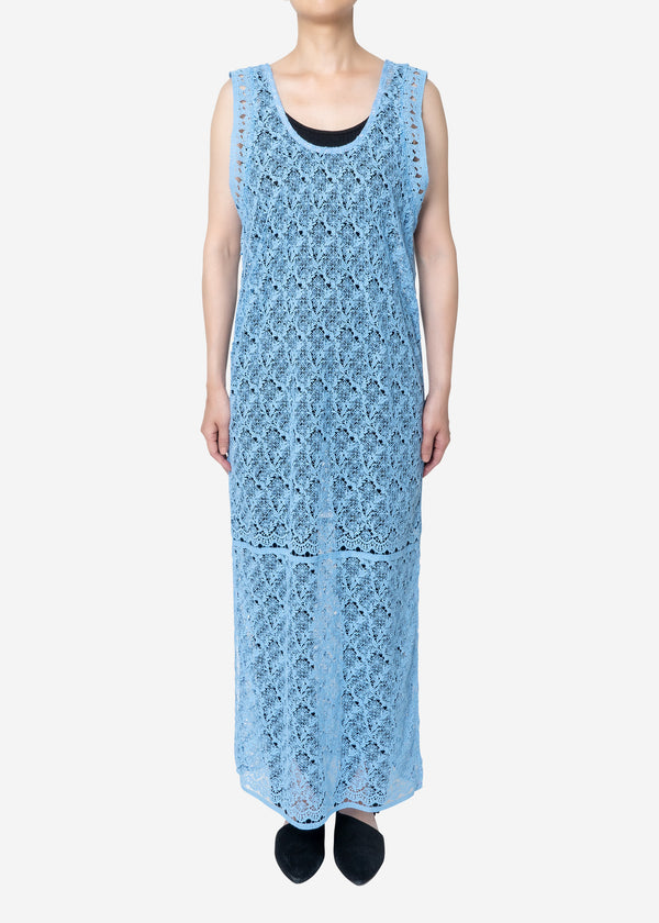 Floral Geometric Chemical Lace Dress in Blue
