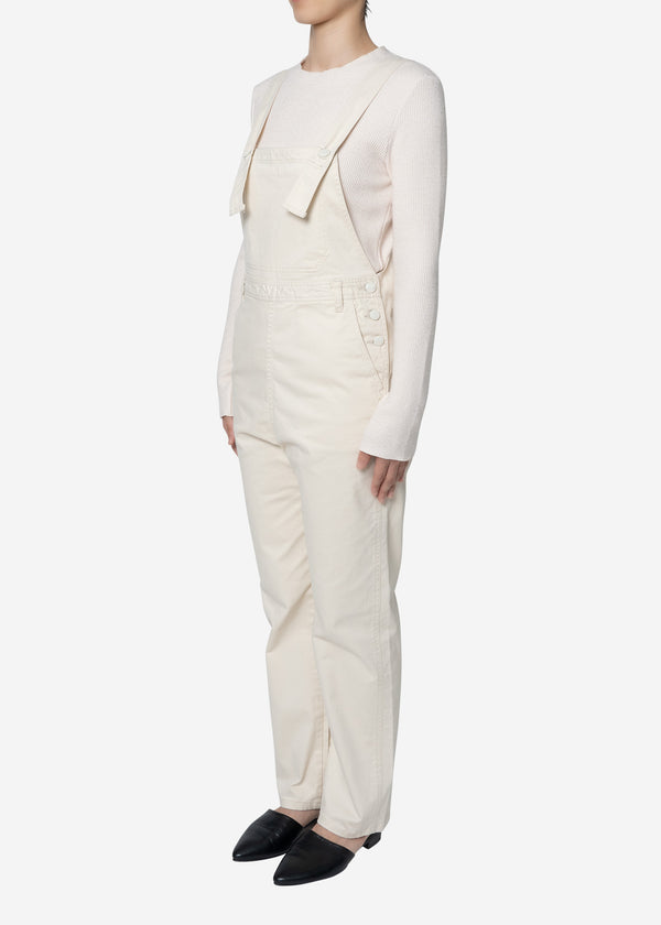 Satin Stretch Overalls in Ivory
