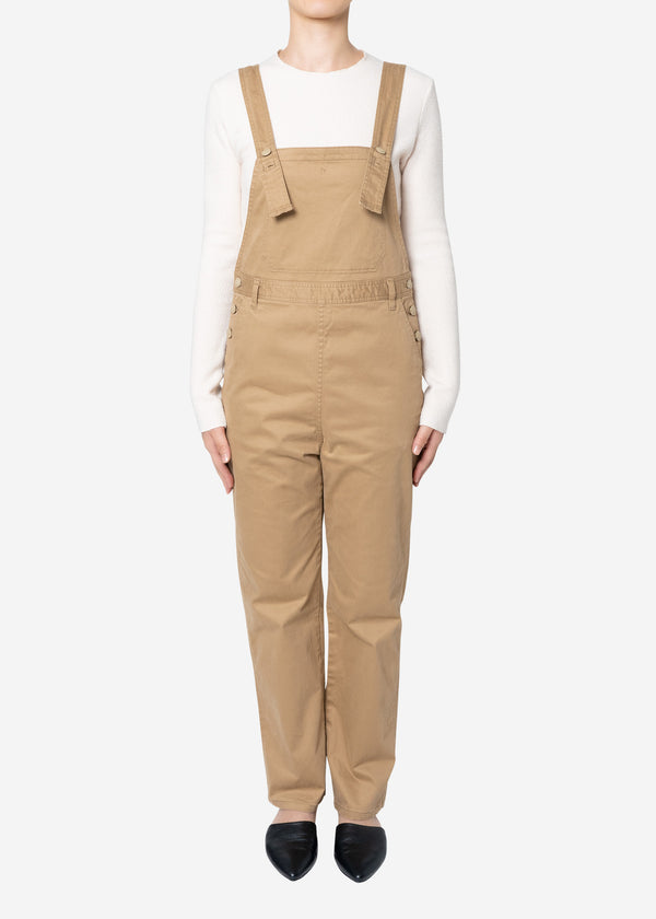 Satin Stretch Overalls in Beige