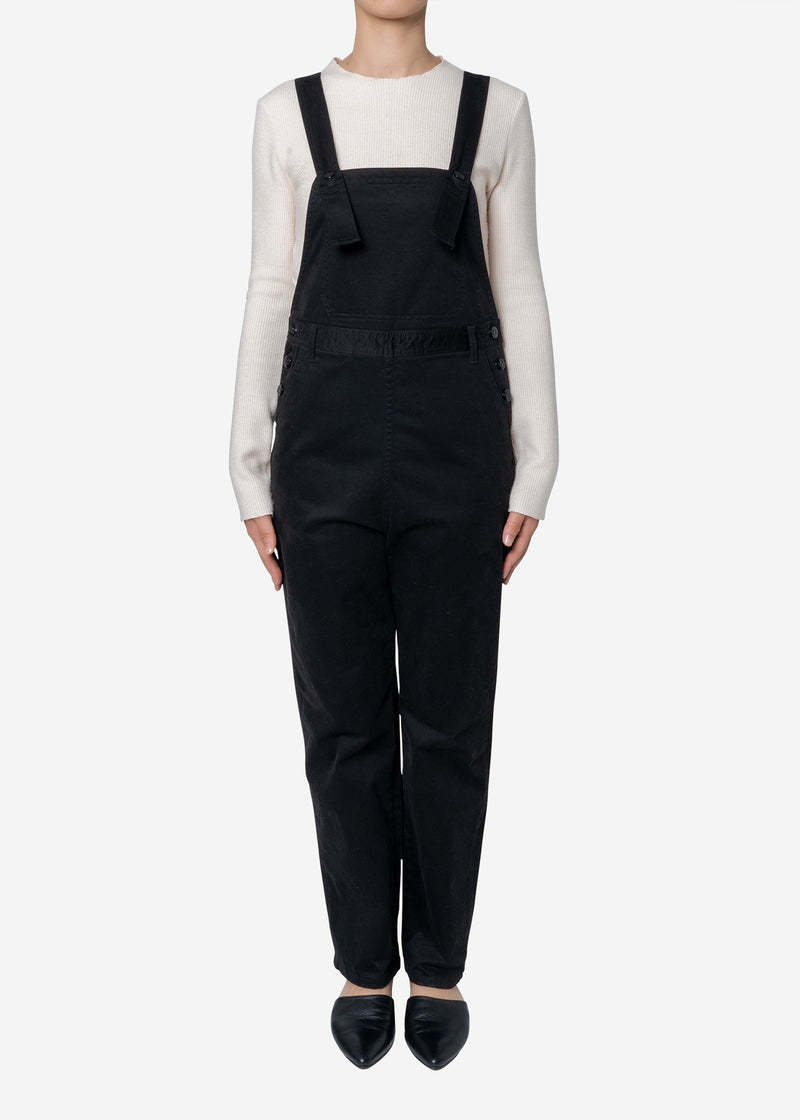 Satin Stretch Overalls in Black