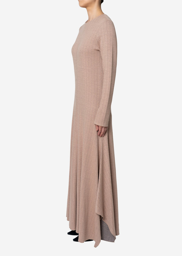 Super120s Wool Stripe Jacquard Dress in Beige