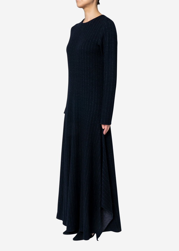 Super120s Wool Stripe Jacquard Dress in Navy