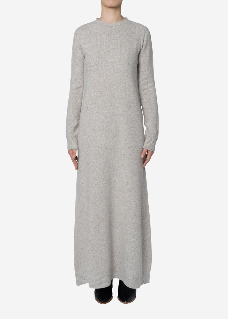 Silk Nep Wool Knit Dress in Brown