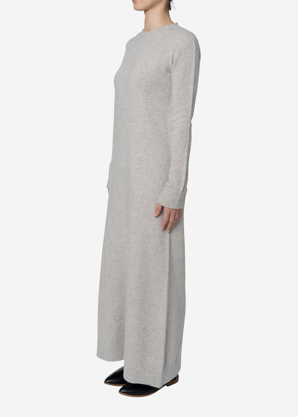 Silk Nep Wool Knit Dress in Ivory