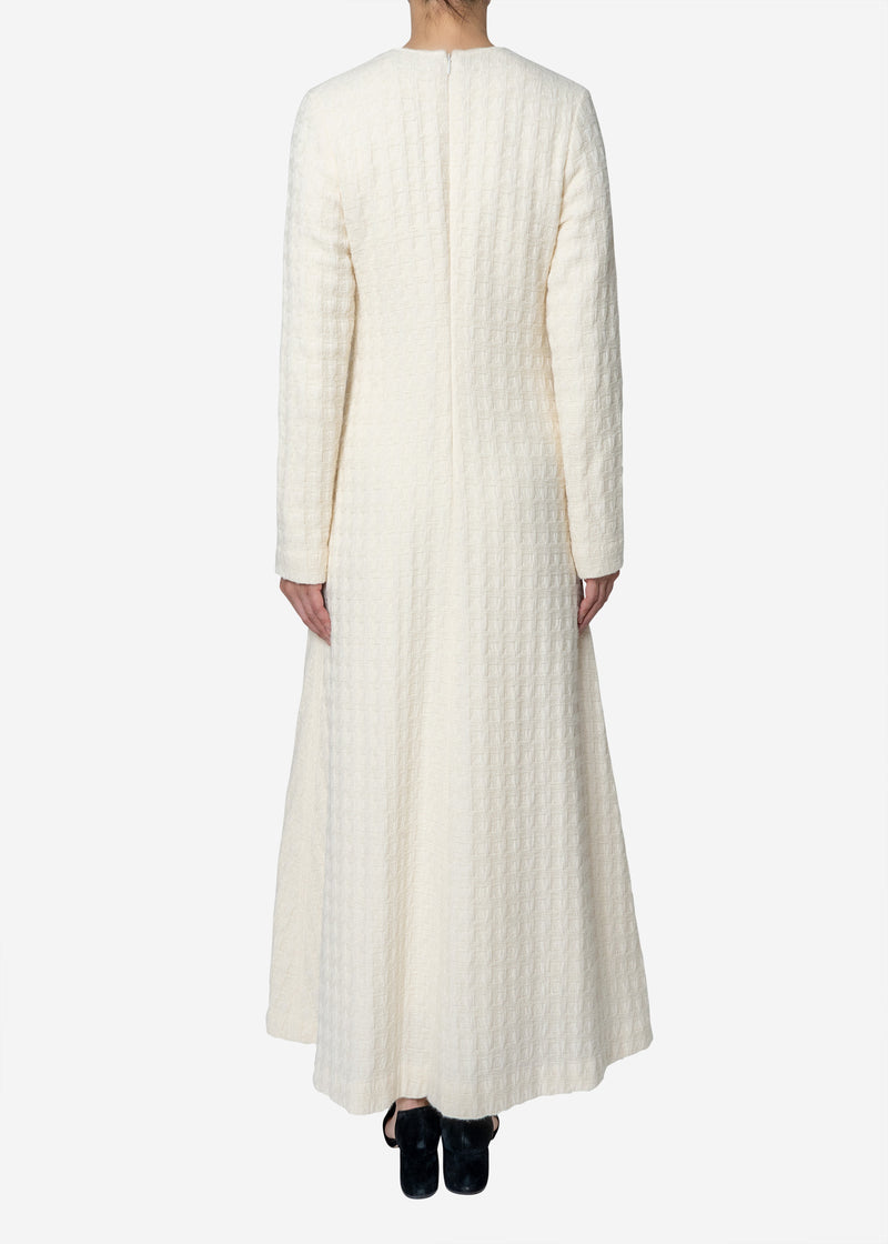 Basket Jacquard Dress in Off White