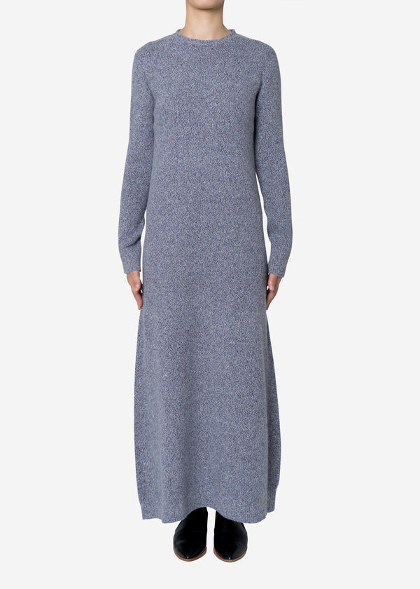 Silk Nep Wool Knit Dress in Purple