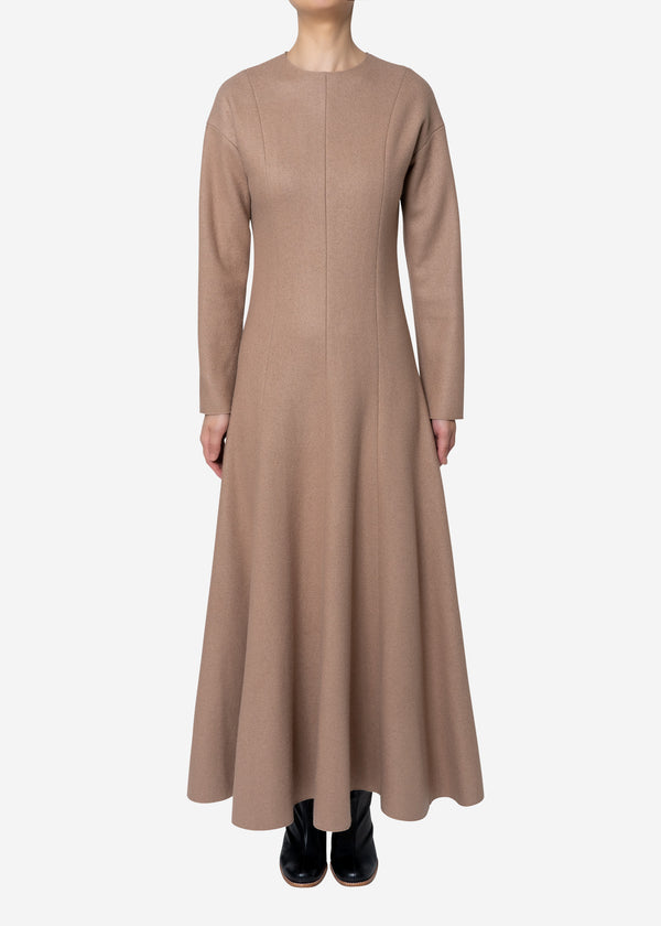 Super140s Wool Milled Melton Dress in Beige