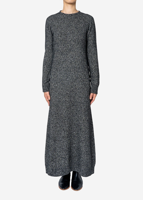 Silk Nep Wool Knit Dress in Black