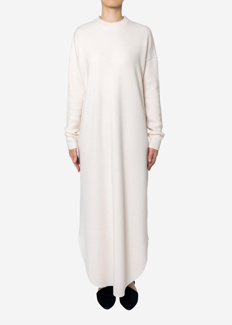 Super140s Wool Waffle Big Dress in Ivory