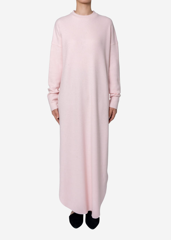 Super140s Wool Waffle Big Dress in Light Pink