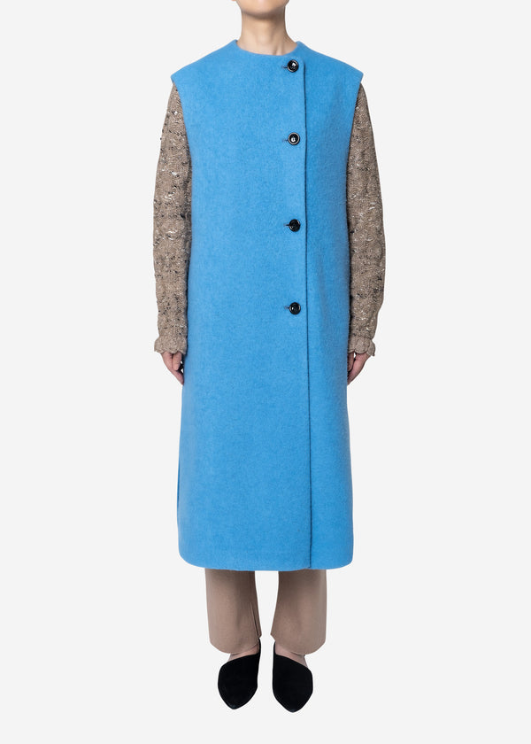 Super140s Wool Sheep Vest Coat in Blue