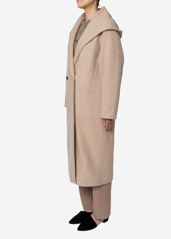 Super140s Wool Sheep Hoodie Coat in Beige