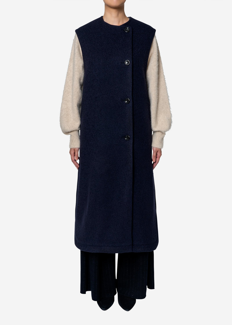 Super140s Wool Sheep  Vest Coat in Navy
