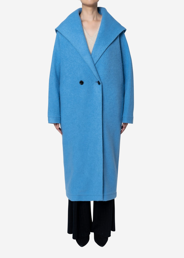 Super140s Wool Sheep Hoodie Coat in Blue