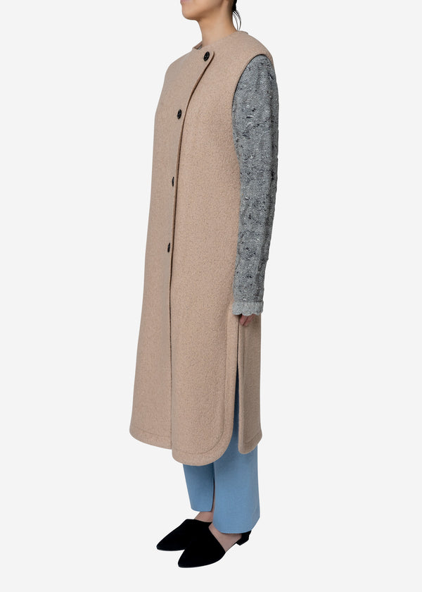 Super140s Wool Sheep Vest Coat in Beige