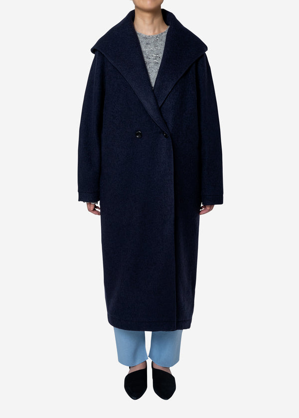 Super140s Wool Sheep Hoodie Coat in Navy