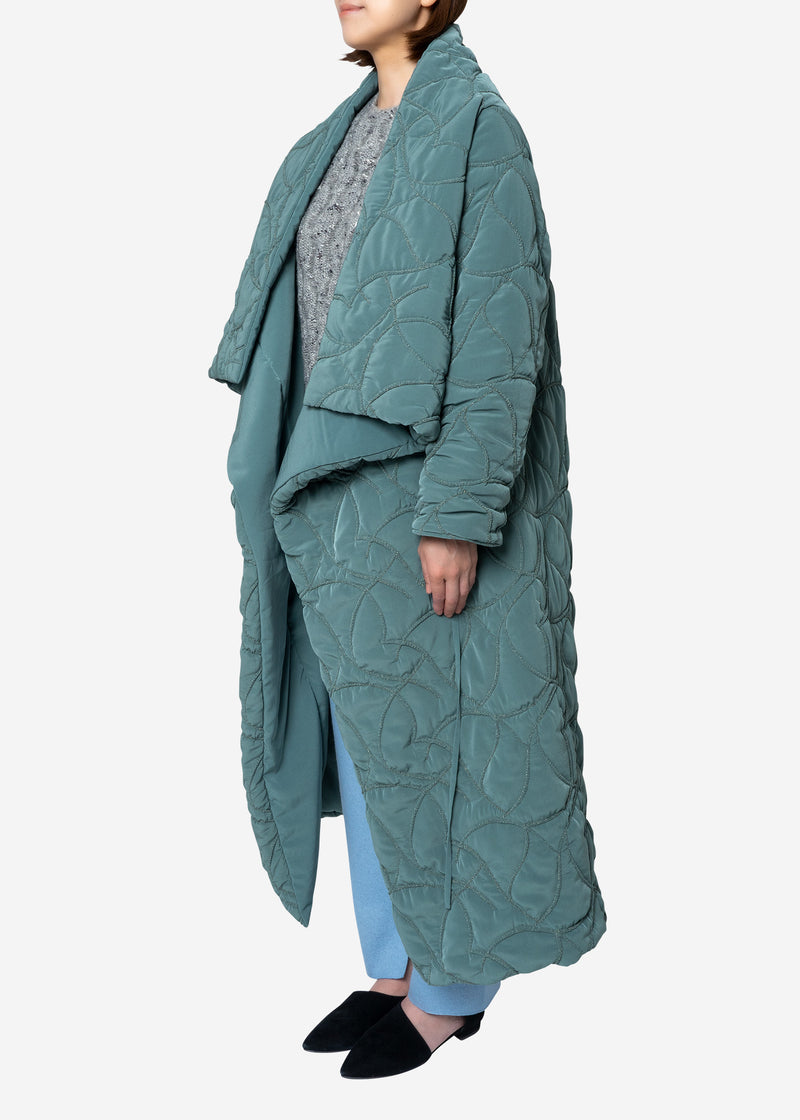 Quilting Embroidery Futon Coat in Khaki