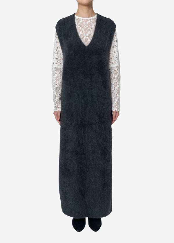 Superfine Fur Long Dress Sweater in Charcoal