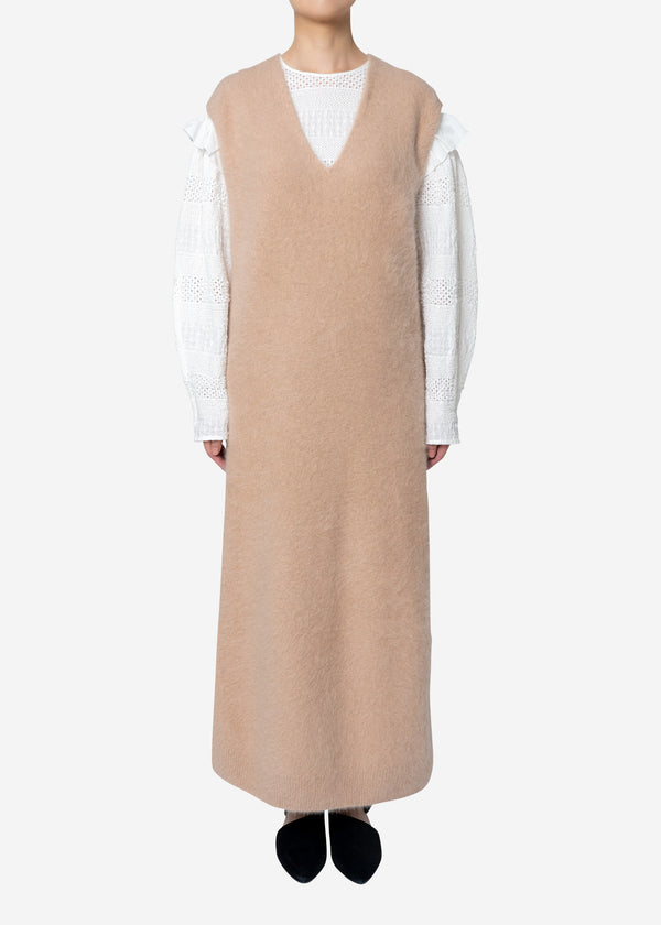 Superfine Fur Long Dress Sweater in Beige