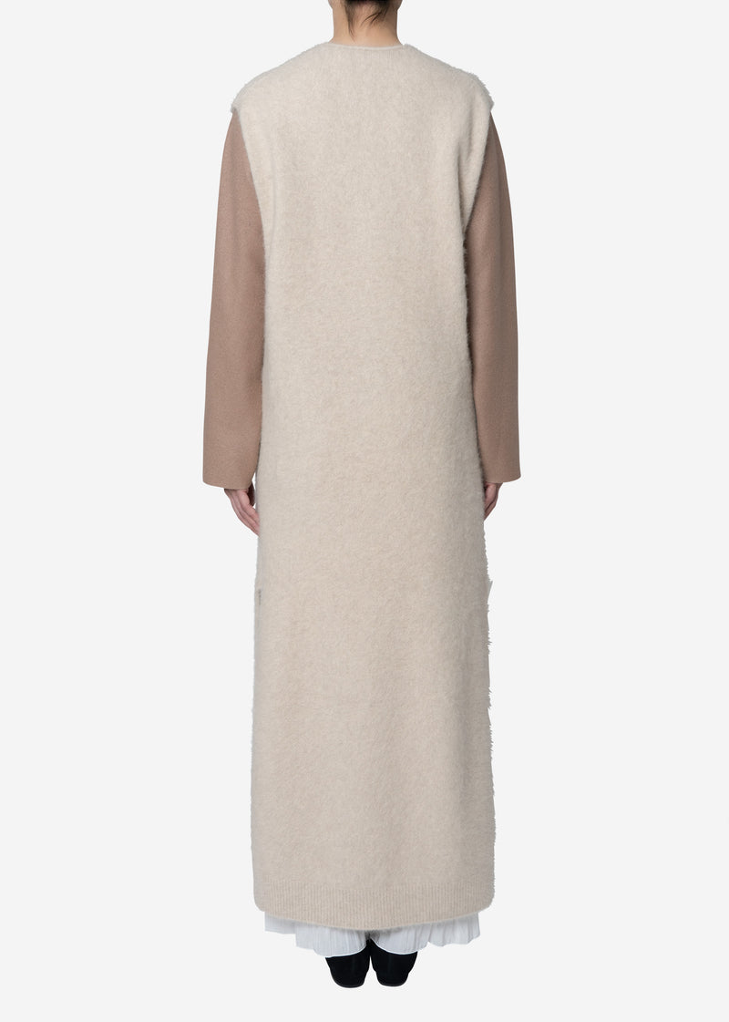 Superfine Fur Long Dress Sweater in Ivory