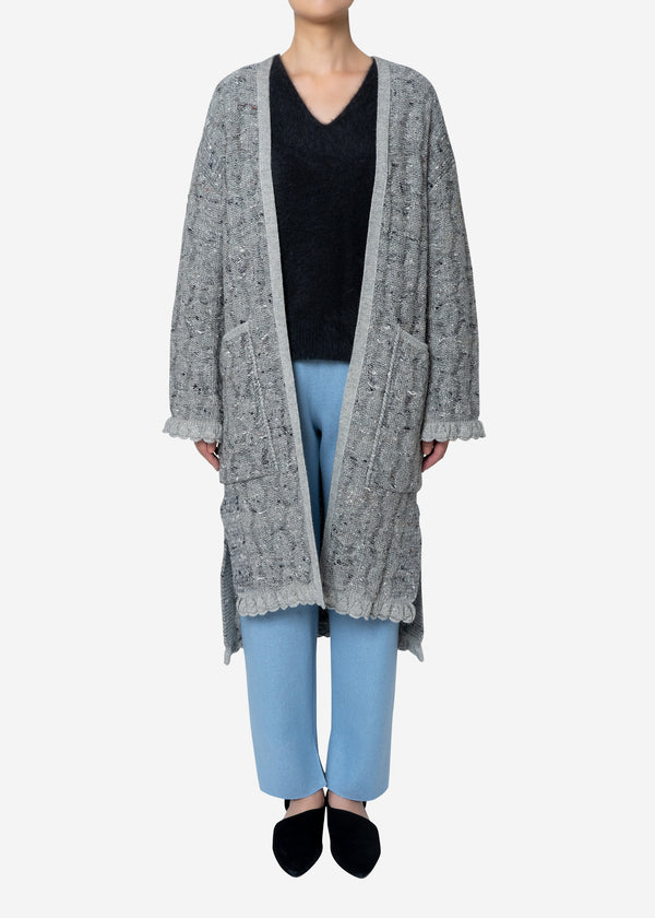 Mix Seed Stitch Long Cardigan in Gray