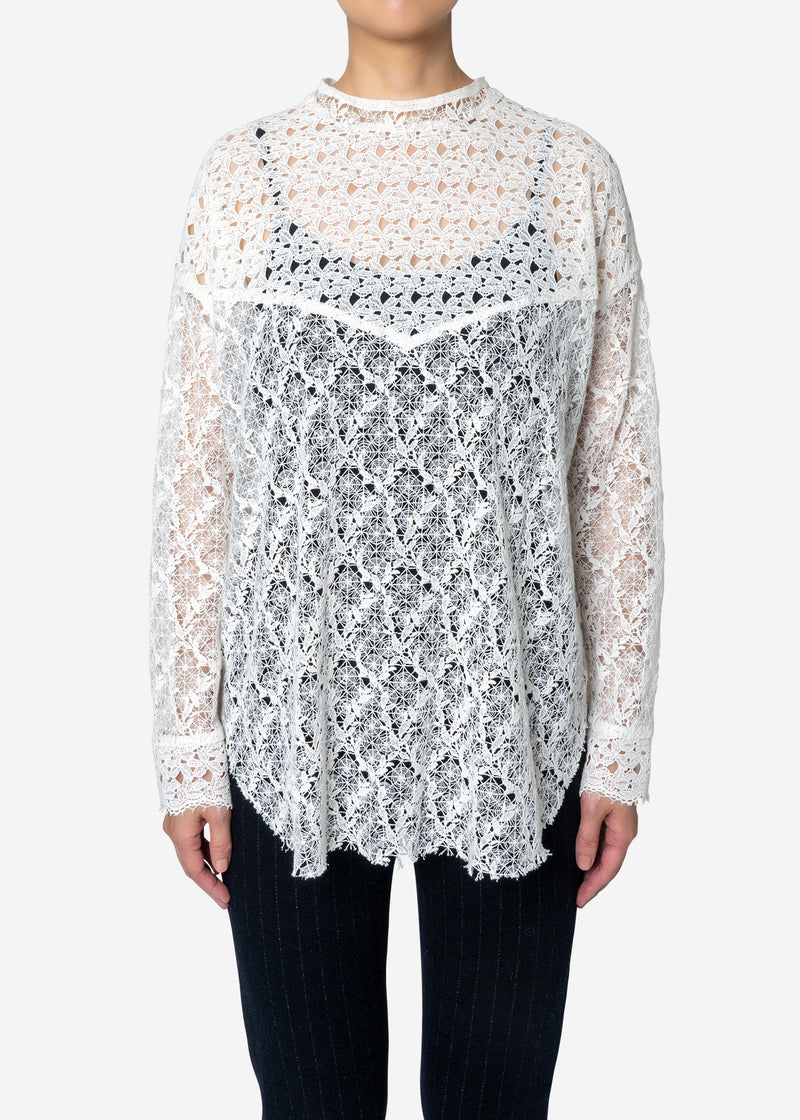 Floral Geometric Chemical Lace Mock Neck Blouse in White