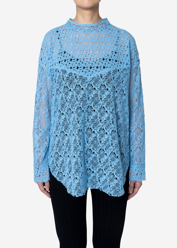 Floral Geometric Chemical Lace Mock Neck Blouse in Blue