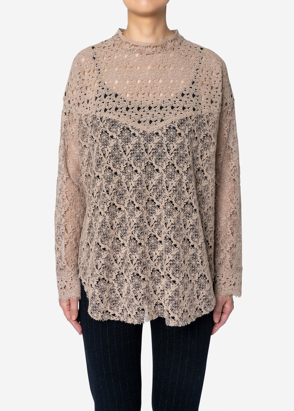 Floral Geometric Chemical Lace Mock Neck Blouse in Beige