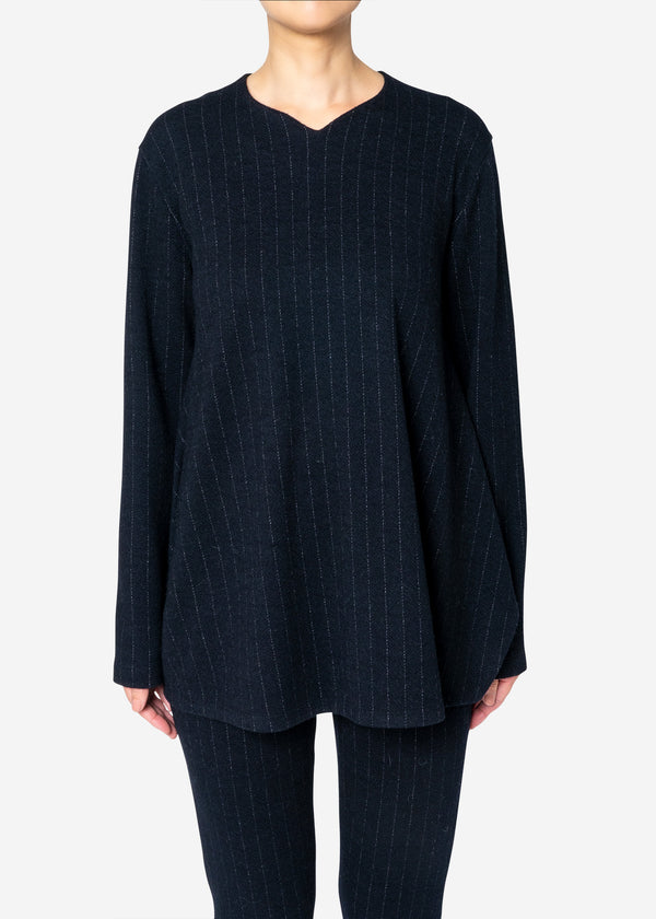 Super120s Wool Stripe Jacquard Slit Blouse in Navy