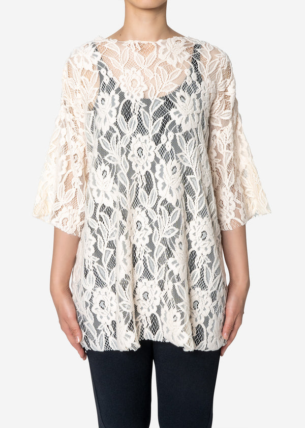 Floral Stretch Lace Short Sleeve Tee in Ivory