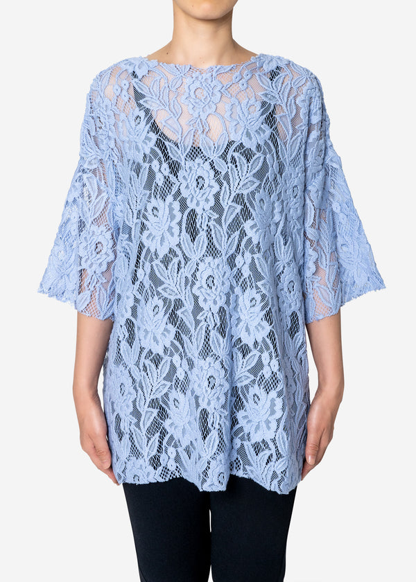 Floral Stretch Lace Short Sleeve Tee in Blue