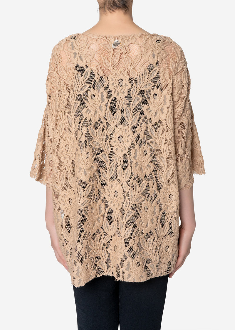 Floral Stretch Lace Short Sleeve Tee in Beige
