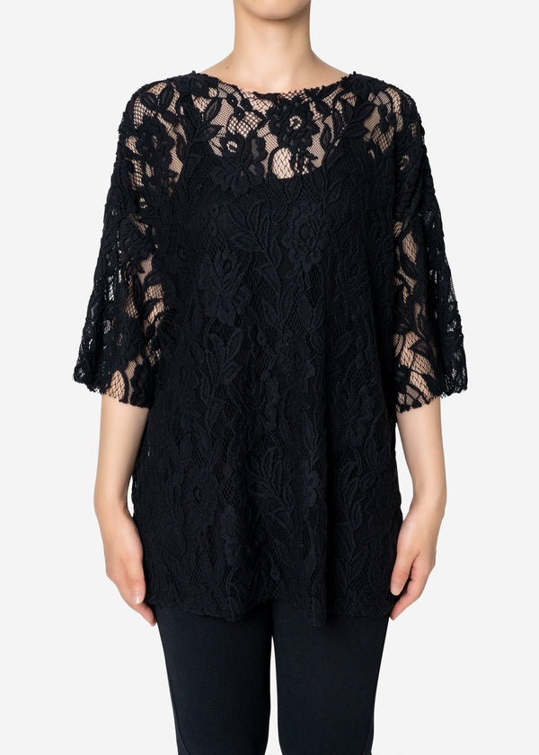 Floral Stretch Lace Short Sleeve Tee in Black