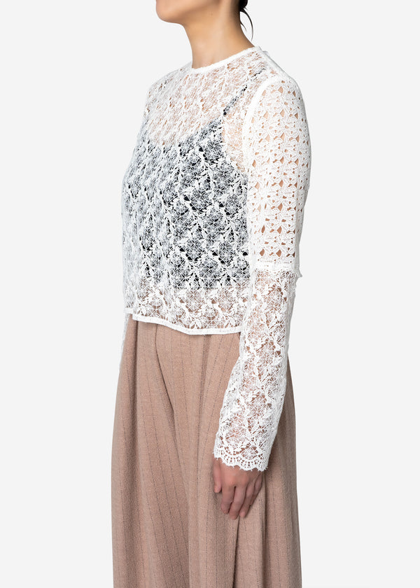 Floral Geometric Chemical Lace Short Blouse in White