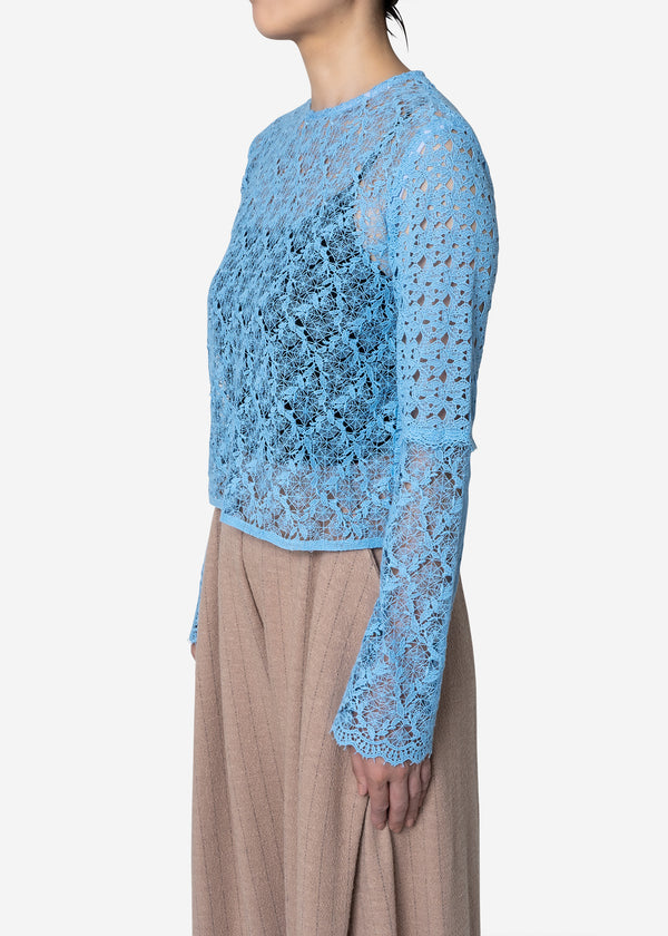 Floral Geometric Chemical Lace Short Blouse in Blue