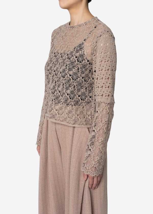 Floral Geometric Chemical Lace Short Blouse in Beige