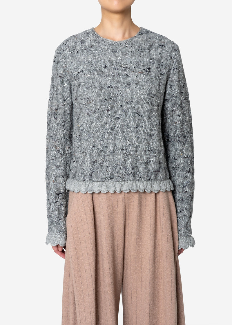 Mix Seed Stitch Short Sweater in Gray