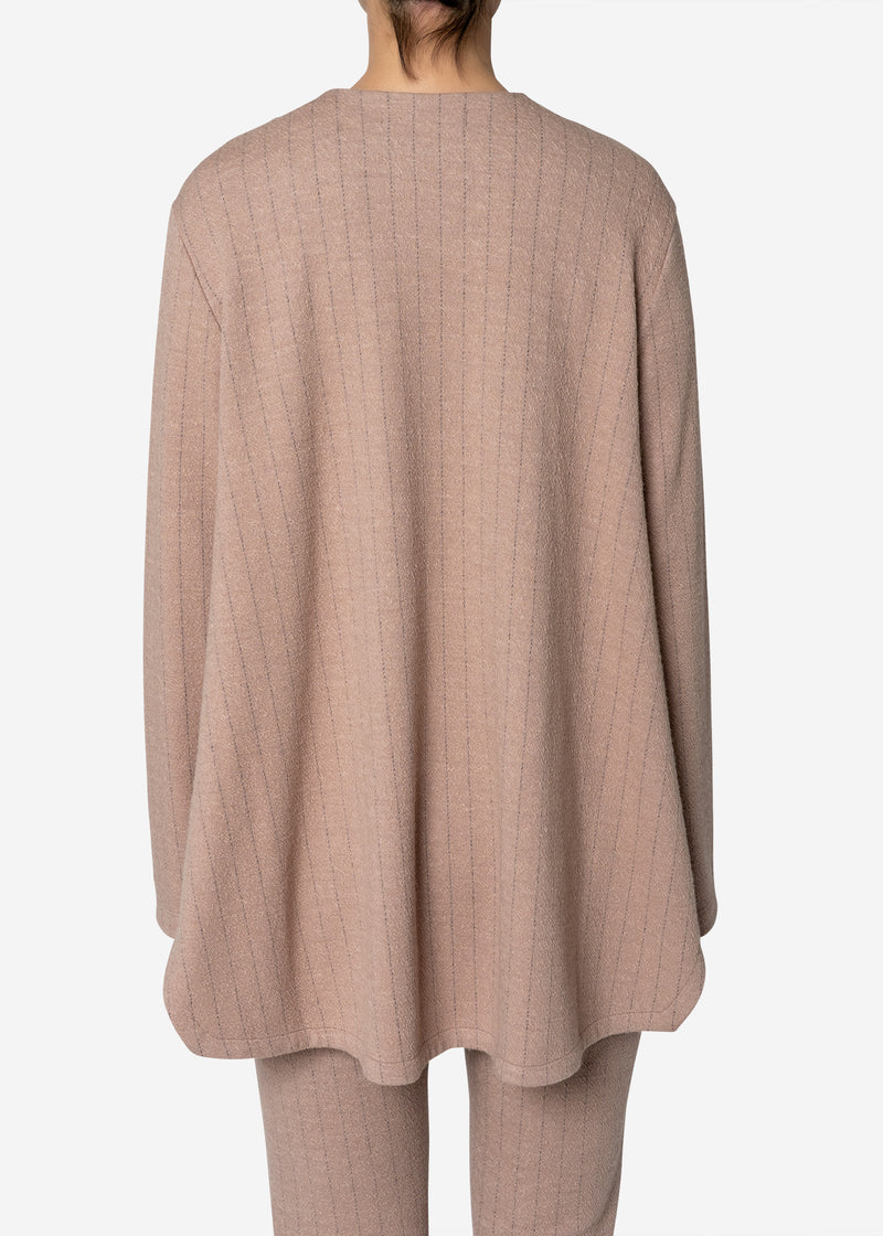 Super120s Wool Stripe Jacquard Slit Blouse in Beige