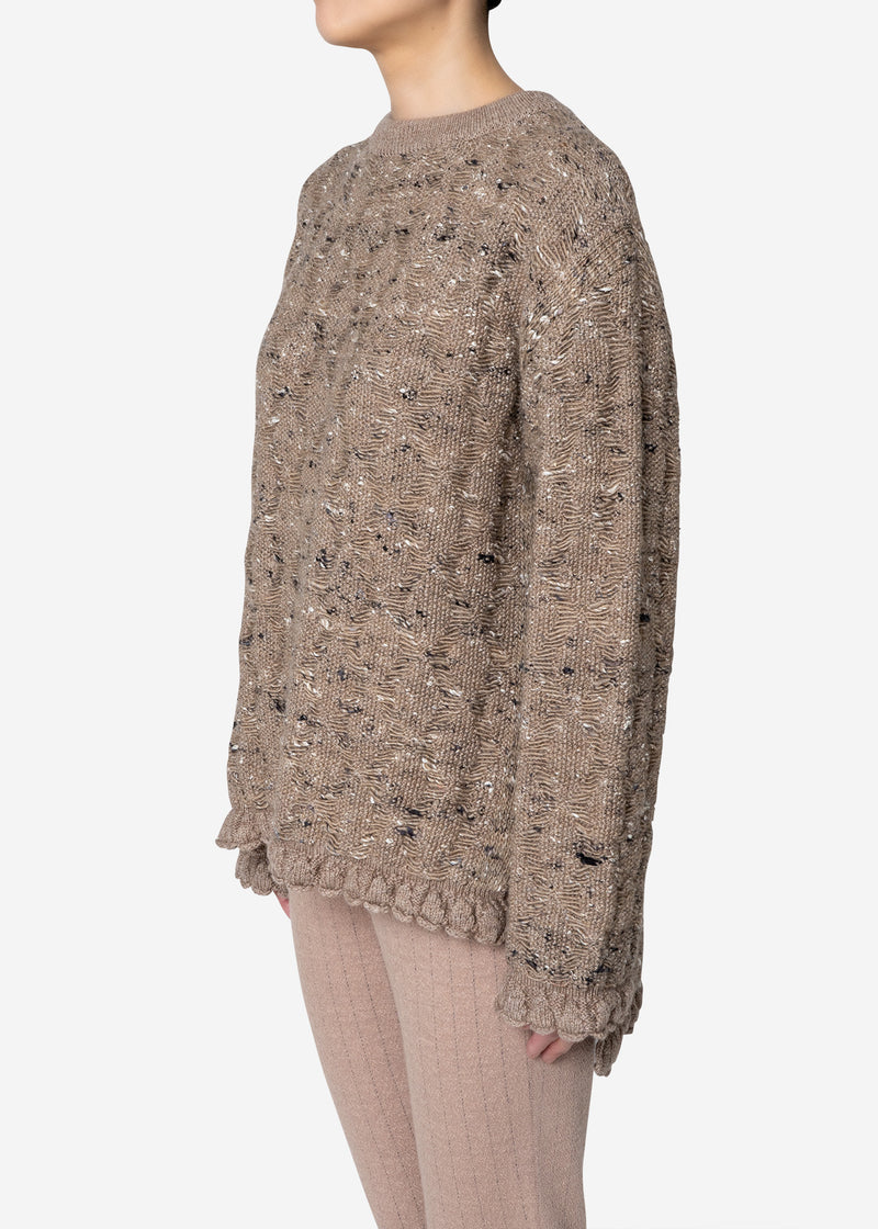 Mix Seed Stitch Long Slit Sweater in Brown