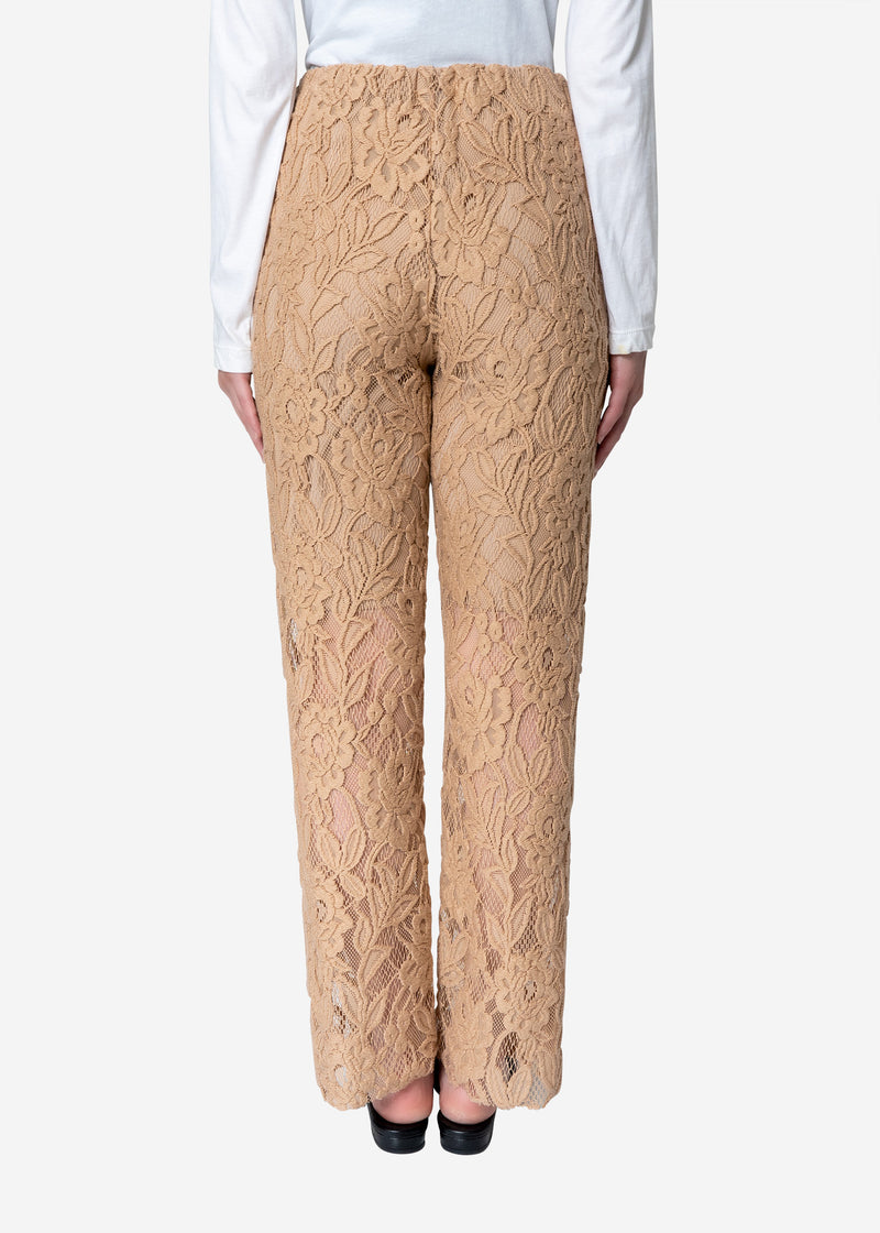 Floral Stretch Lace Pants in Beige