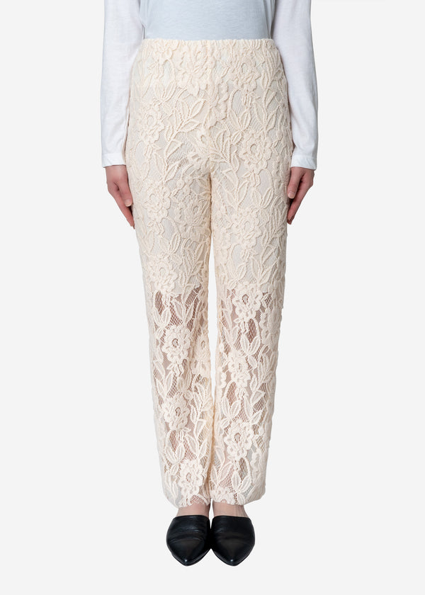 Floral Stretch Lace Pants in Ivory