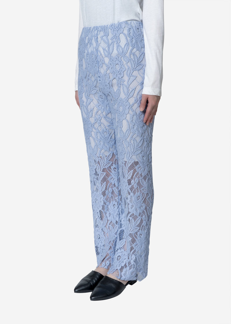 Floral Stretch Lace Pants in Blue