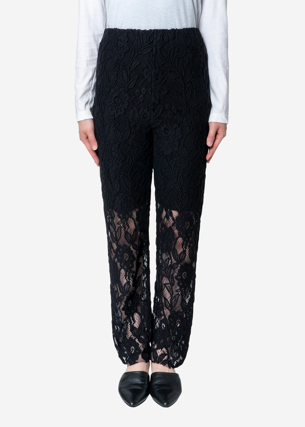 Floral Stretch Lace Pants in Black