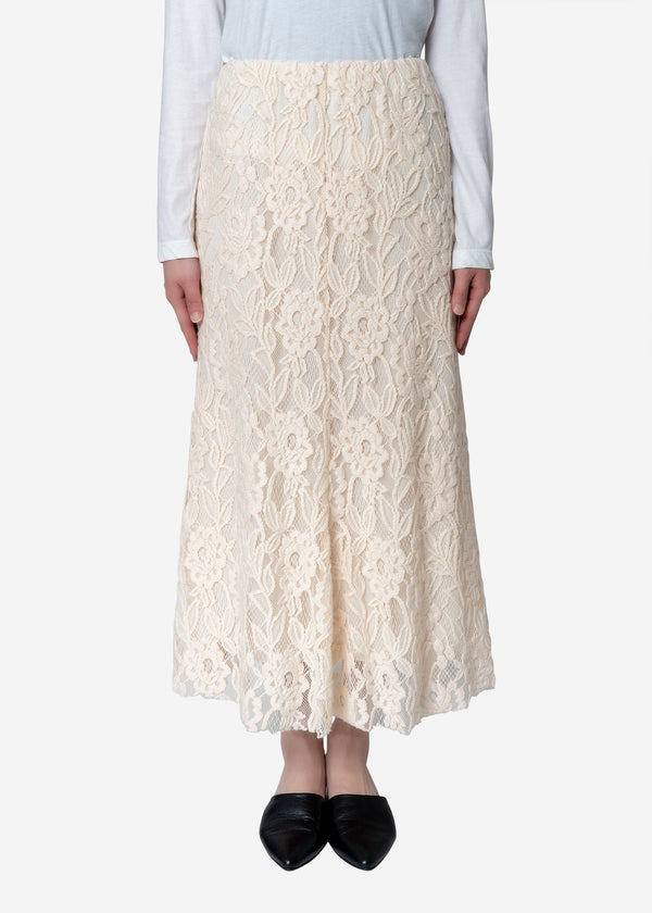 Floral Stretch Lace Skirt in Ivory