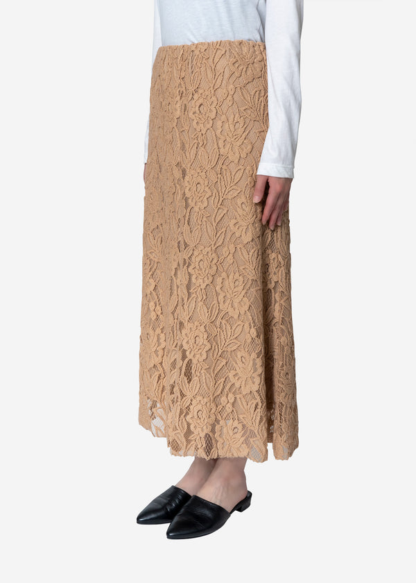 Floral Stretch Lace Skirt in Beige